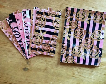 Pink blush, black and gold Personal size A5 or pocket size Dividers / planner supplies / planner accessories / inserts /dashboard