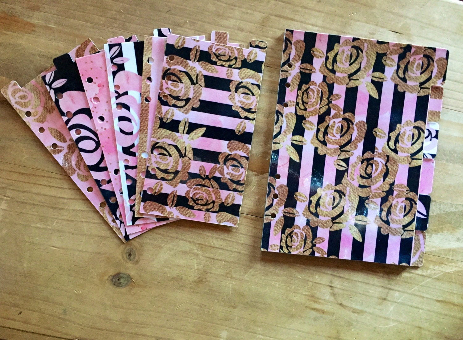 Pink blush black and gold Personal size A5 or pocket size