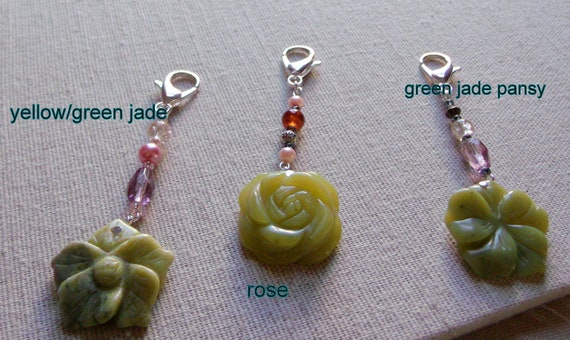 Jade zipper pulls - floral gemstones- flower journal-planner - clip art - zen gift - stocking stuffer - holiday grab gift - LizPoriginals