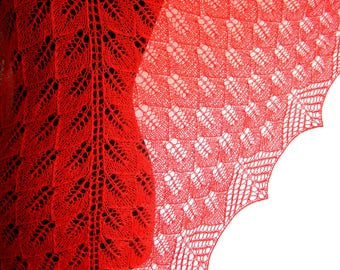 Mohair shawl Knit red Knitted Shawl hand knit lace shawl Wool Shawl Hand Knitting shawl womens gift woman scarf