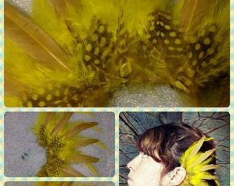 Handmade bright yellow feather ear cuff