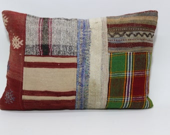 18x24 Patchwork Kilim Pillow Lumbar Pillow 18x24 Turkish Kilim Pillow Throw Pillow Ethnic Pillow Sofa Pillow Cushion Cover   SP4560-712