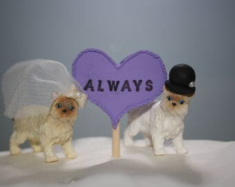 Animal Bride and Groom; Cat Cake Topper; Mr and Mrs; Wedding Cake Topper; Top of the Cake; Wedding Figurines; Bride and Groom Figurines
