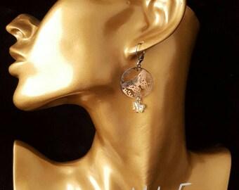 Earrings Butterfly stainless steel and swarovski