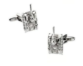 Tank Cufflinks - Silver Color-k26