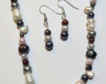 Opera Length Multi-Colored Pearl Necklace and Earring Set