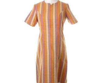 Handmade vintage Shift Dress Small Medium Mustard Yellow and Orange 70's