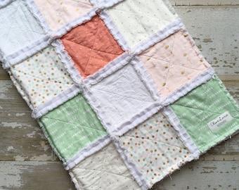 Flamingo Minky Baby Rag Quilt - Minky Quilt - Rag Quilt - Toddler Rag Quilt - Handmade Patchwork Quilt - Pink Mint Gold Polka Dots