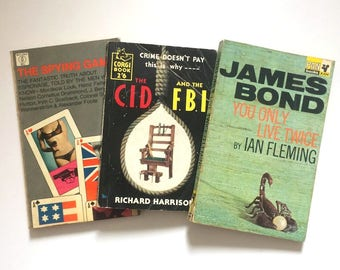 Vintage 1950s/60s Paperback Spy and Crime Collection - The Spying Game, The CID & FBI and You Only Live Twice