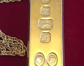 Vintage gold plated silver Royal wedding 1oz ingot - 1981