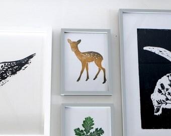 Deer. Fawn.  Linocut / hand printed