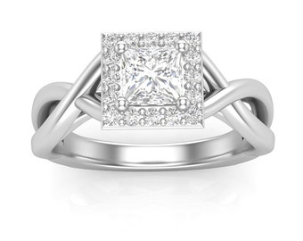 White Gold Engagement Ring Square Halo Twist Ring.17 ct Rounds Semi Mount for 1/2 ct Princess Cut Brand New 14K Setting Only Or Moissanite