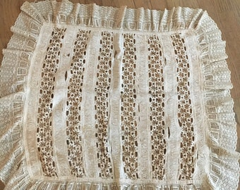 Antique pillow sham from lace and trim