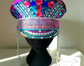 Festival hat / captain hat / festival headpiece / hat / party hat / festival fashion / festival wear