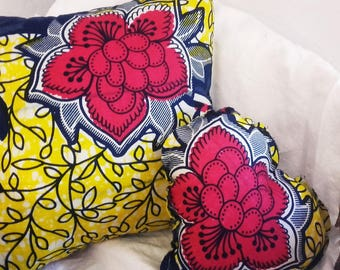 4 sizes of cushions WAXY WAX African fabric Wax 40 x 30-35 x 35 - 20 x 30 and 15x20cm indigo blue and orange foliage pattern by Cath aunt home