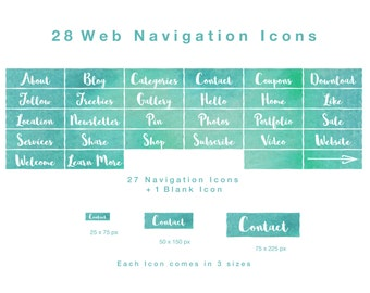 28 Web Navigation Icons -White on Seafoam Watercolour - PNG files, Instant Download