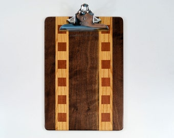 Checkered walnut clipboard