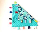 Aqua Minky Tag Blanket ~ Sensory Blanket ~ Tag Blanket ~ Lovey ~ Turquoise Minky Cuddle blanket  ~ Turquoise  Minky Tag Blanket