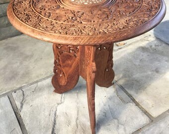 Wooden Hand Carved Table Made In India Inlay Tabletop Intricate Detailed  Design Boho Chic