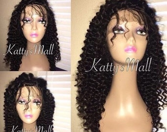 Lace front deep curly wig, Lace frontal wig, lace front, Indian virgin hair