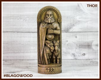 Wooden, Thor, Scandinavian pantheon, Norse god, scandinavian god, handmade, Allfather, viking god, asatru, heathen, pagan