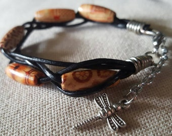 Leather Cord and Wooden Bead Bracelet; Product Id: lcawbb