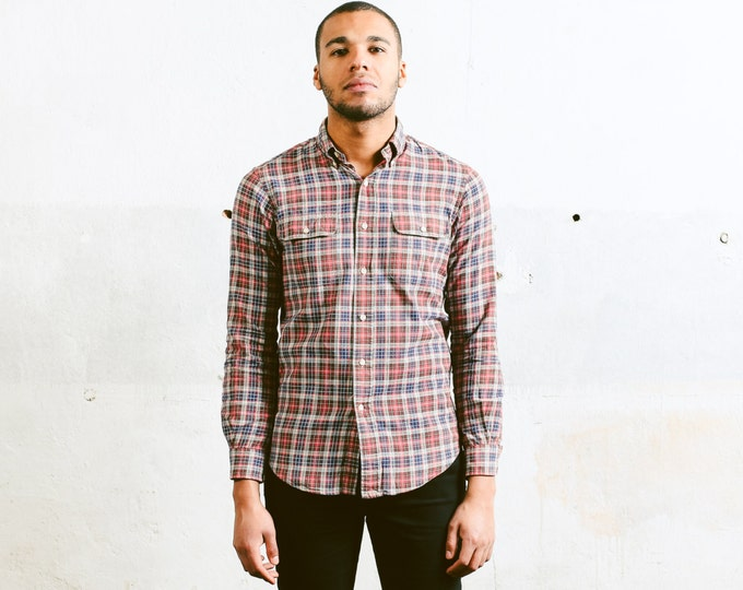 RALPH LAUREN Shirt . size Small S . Plaid Flannel Brown Check Print Suede Elbow Patches Oxford Shirt Boyfriend Gift