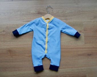 SALE Newborn Jumpsuit, Blue waves, Yellow detail, baby, unisex
