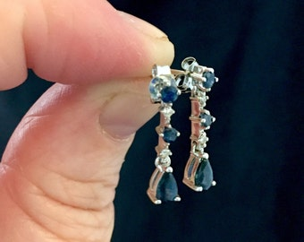 14k white gold with sapphires and diamonds earrings