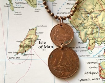 Ilse of Man copper duo coin necklace - made of original coins from Ilse of Man (Great Britain) - ship - island