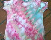 Hand Dyed Lap neck T-Shirt - Infant Size 6 months - Pink & Green - Turquoise Morning Tie-dye