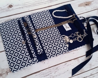 Navy Blue Azteca - Personalized Jewelry Travel Case, Jewelry Travel Roll, Jewelry Organizer, Jewelry Bag; Great for Weddings, Bridal Party