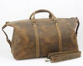 Unisex Vintage Leather Holdall Weekend Duffle Bag 14027