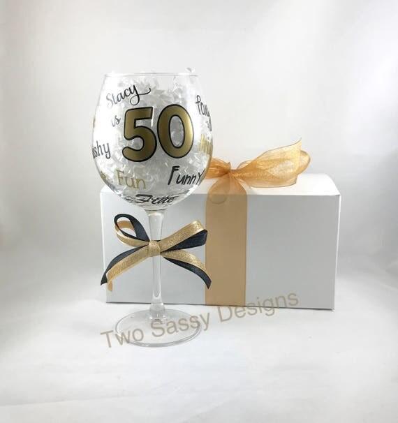 50th Birthday Glass Milestone Birthday Glass Custom Birthday