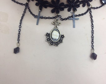 Gothic choker flowers fake tooth pendant steampunk crosses charms goth necklace jewellery handmade craft