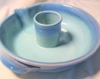 Blue Pottery Chips and Salsa Bowl with Handles, Stoneware, Chips and Dip, Pottery, Serving Dish, Entertainment, Salsa, Chips, Unique