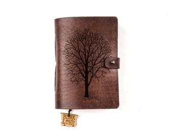Alone Tree, Travel journal, Leather pocket notebook, Smal leather journal, Personalized pocket notebook, Nature journal, Withered tree
