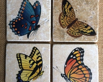 Colorful Butterflies/Moth Design Natural Travertine Tile Coasters - Set of 4