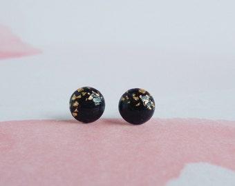 polymer clay stud earrings, minimalist earrings, geometric earrings, bridesmaid gift, black gold earrings, wedding jewelry, dainty earrings