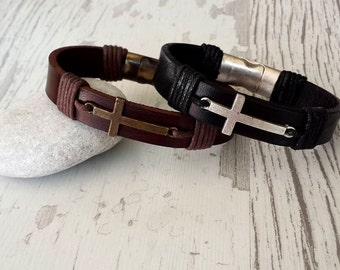 Couples Bracelets Set, Personalized Leather Bracelet ,2 Pc Set ,Cross Bracelet , Bracelet For Him ,Handmade bracelet