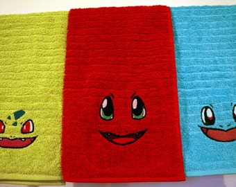 Pokemon Kanto Starters Embroidered hand towels Bulbasaur Charmander Squirtle