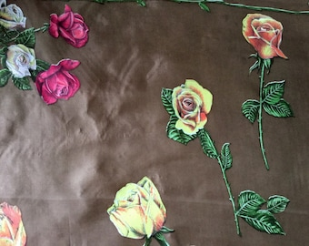 Silk and Rayon scarf with roses, hand printed