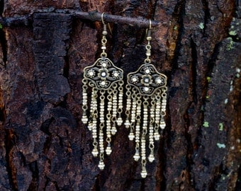 Gold Dusting...Gypsy, Bohemian, Gold, Dangle, Pyrite, Embellished, Rhinestone, Chandelier Earrings