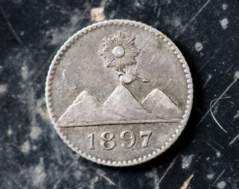 1897 Silver Guatamala 1/4 Real Antique Coin