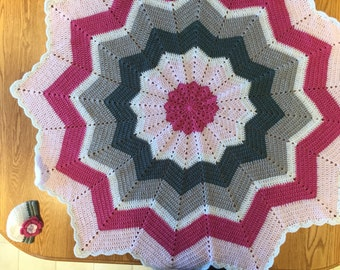PINK AND GREY Crocheted Baby Afghan and Matching Hat