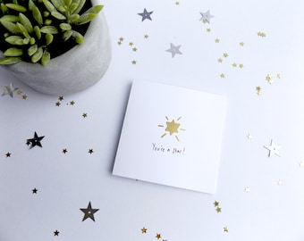 You're a star card. Well done card. Congratulations card. Passing exam card. Handmade card with gold star. Graduation card