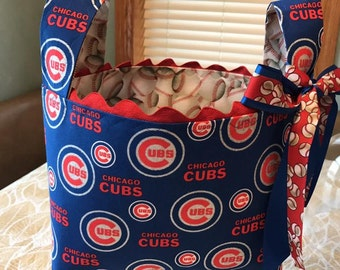 Sparkly Cubs Large  Basket, Chicago Cubs  Basket, Graduation Gift,  Storage and Organization, Teacher Gift, Library Book Basket, Wedding