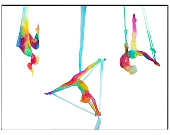 The melting pot-Aerial yoga silks - Fine Art Giclee Print watercolor painting - Yoga gift