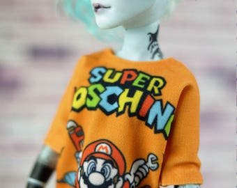 3 styles! T-shirts with print for Boy Monster High. Handmade Doll Clothes