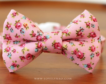 Shabby Chic Cat Bow Tie Collar